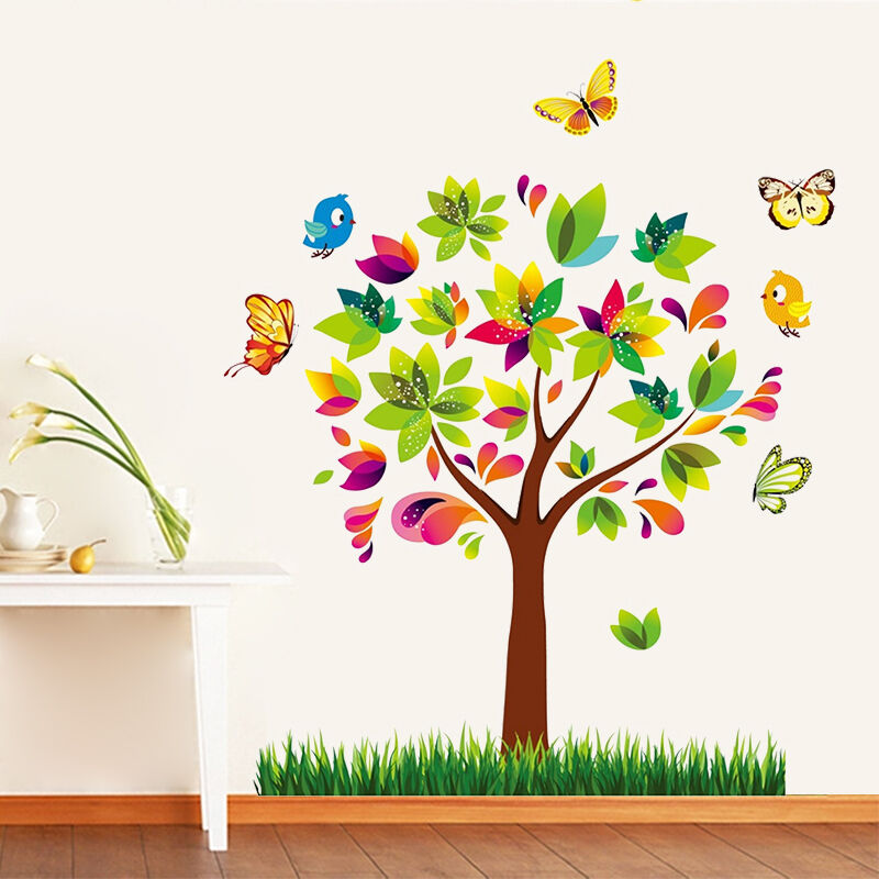 Wandtattoo wandsticker baum schmetterlinge kinderzimmer for Wandsticker baum