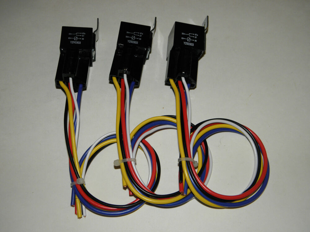 Three 50 Amp Relay Kit For Electric Fan Fuel  Water Pump Fog Lights Horns Wiring