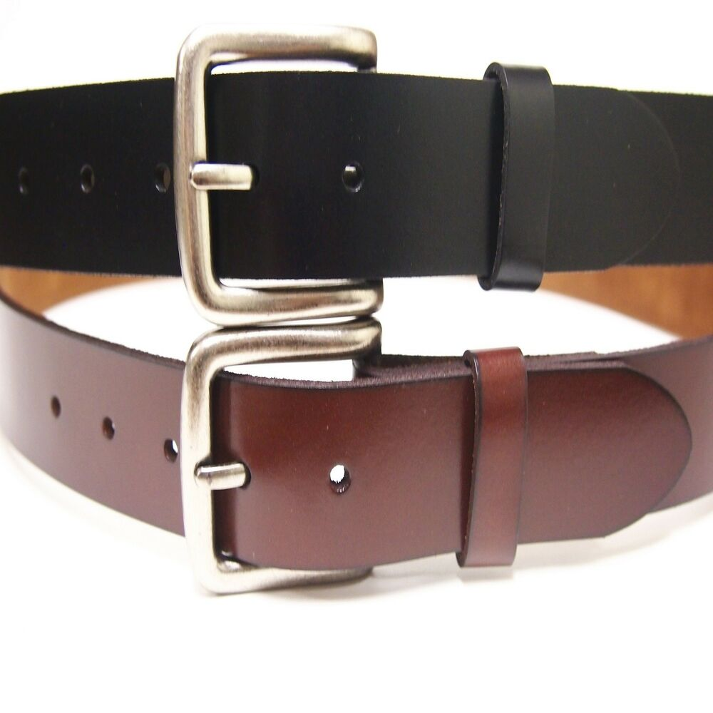 black brown plain leather belt snap on no buckle