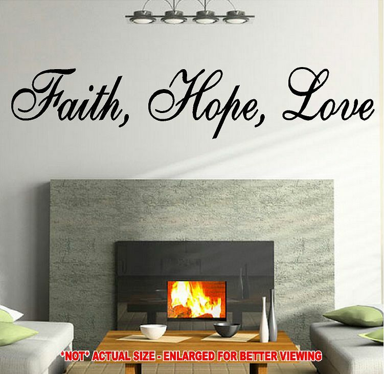 Faith Hope Love Vinyl Decal Wall Sticker Quote Romantic Heart Live Laugh Happy Ebay