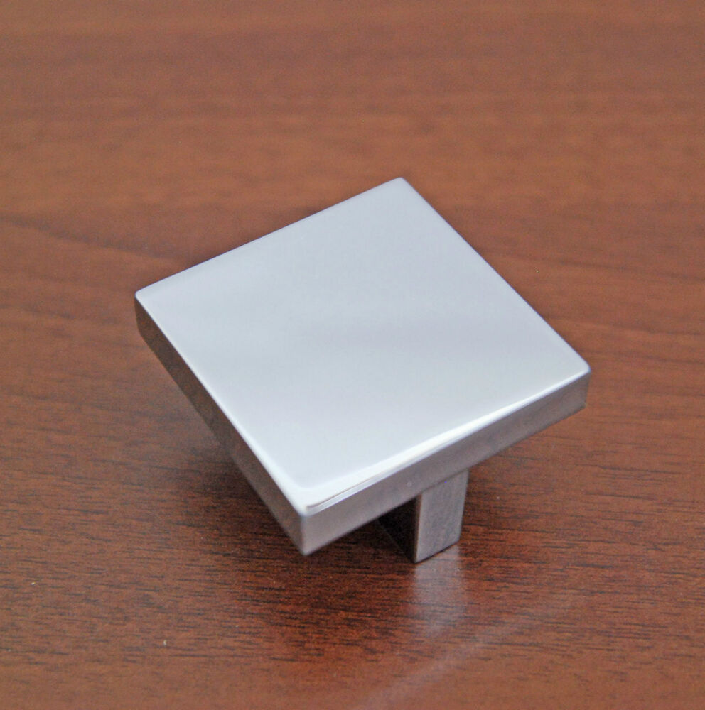 Square kitchen cabinet door handle knob polished chrome for Square kitchen cabinet knobs