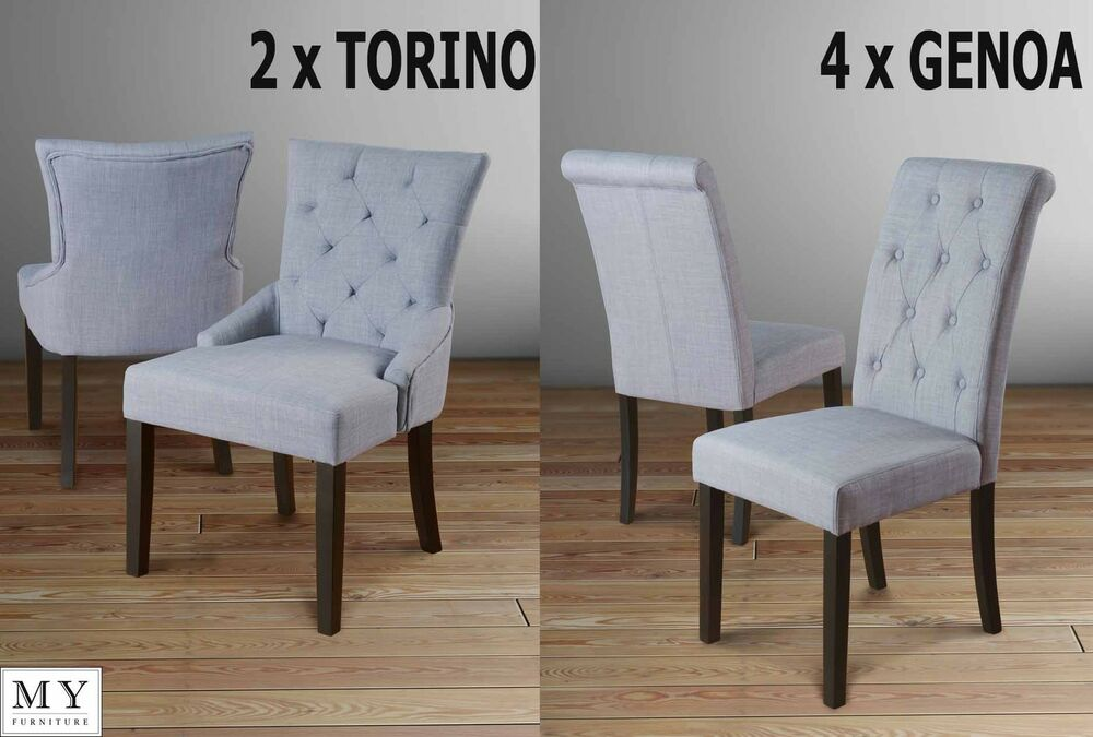 Set of 6 high quality upholstered dining chairs grey for Upholstered dining chairs with black legs