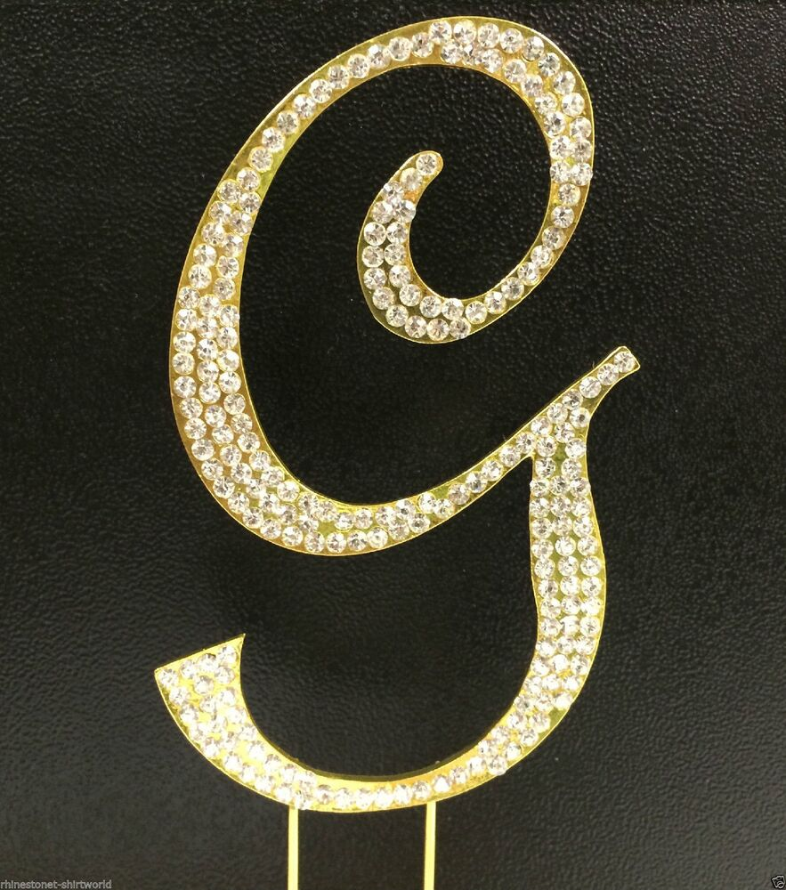 gold initial cake toppers for wedding cakes rhinestone covered gold monogram wedding cake 14796