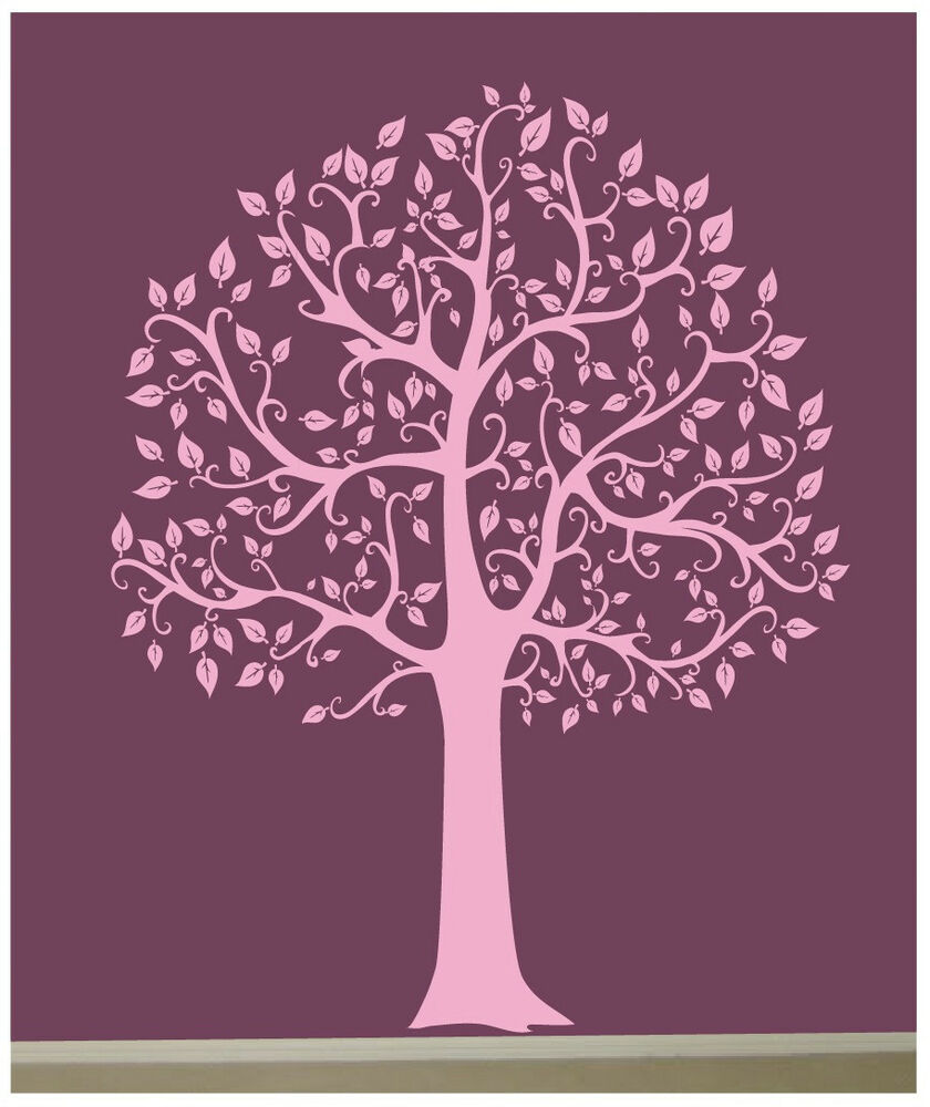 Wall decal 6 ft big tree in light pink deco art sticker for Deco mural stickers