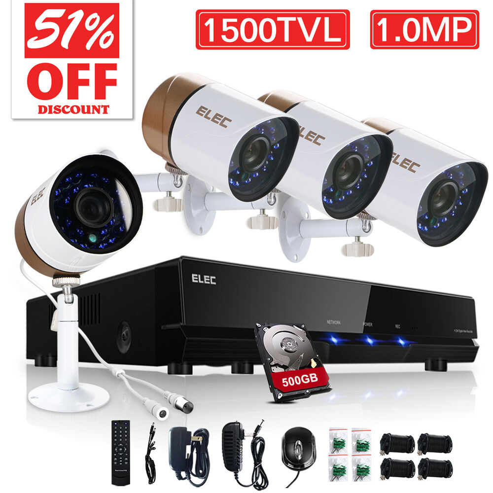 Elec wired outdoor home security camera system 1500tvl 4ch 960h hdmi cctv dvr ebay for Home exterior security cameras