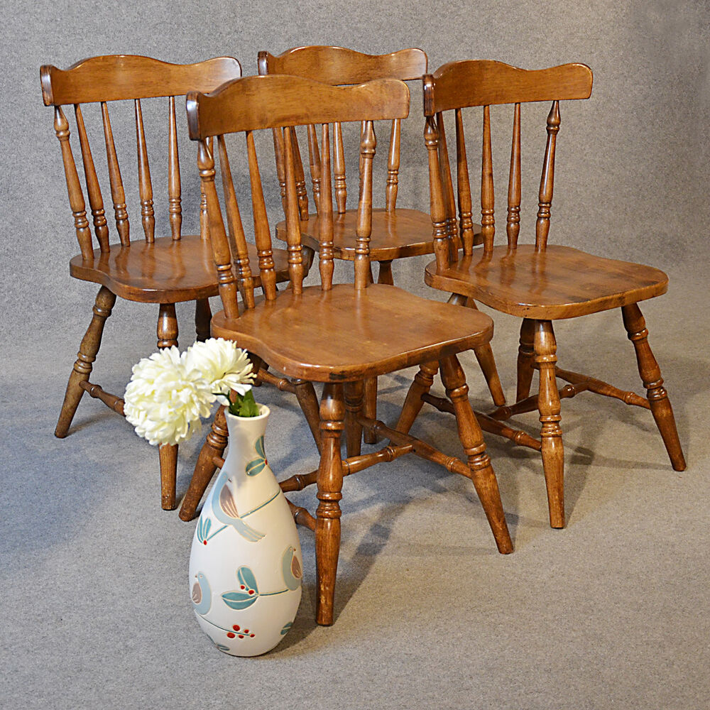 Set 4 Chairs Kitchen Dining Quality Windsor Stick Back