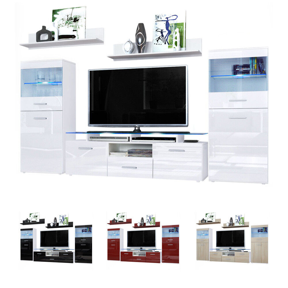 Wall Unit Living Room Furniture Almada White High Gloss Natural Tones Ebay