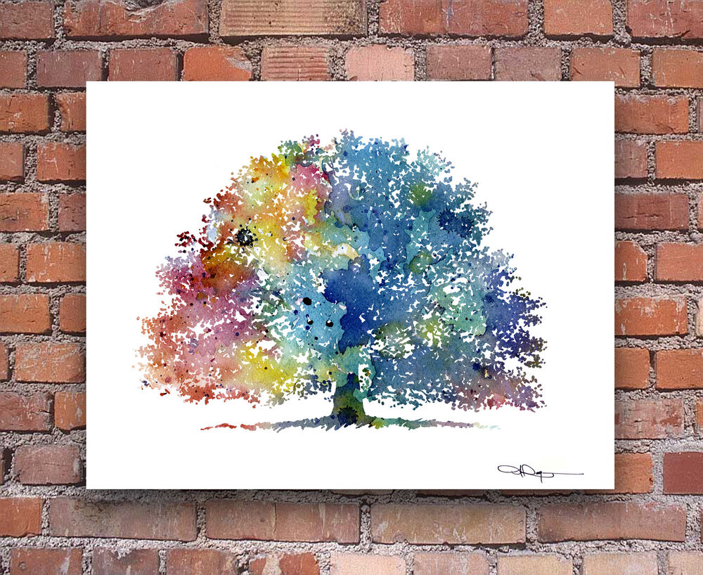"""Wall Decoration Tree Painting: Oak Tree Abstract Watercolor Painting 11"""" X 14"""" Art Print"""