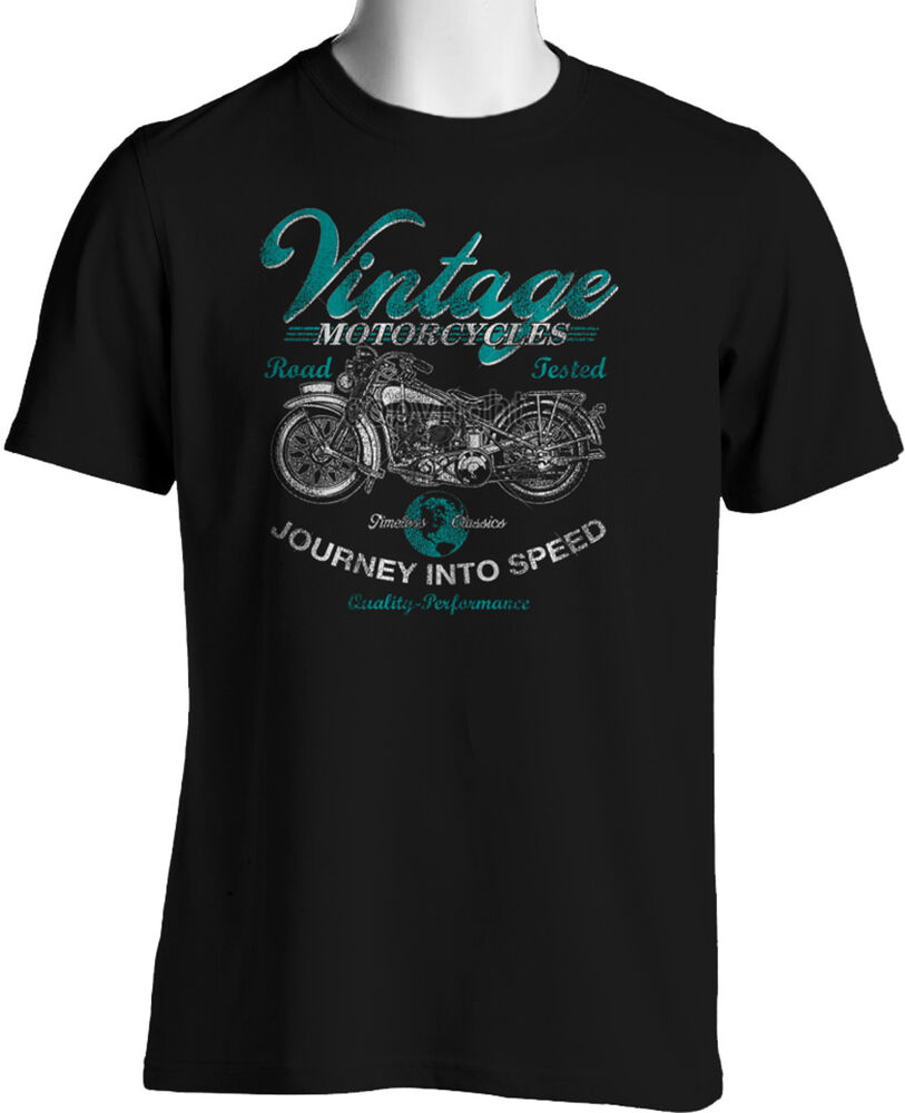 Biker T Shirts Vintage Motorcycles Retro Pre War Mens