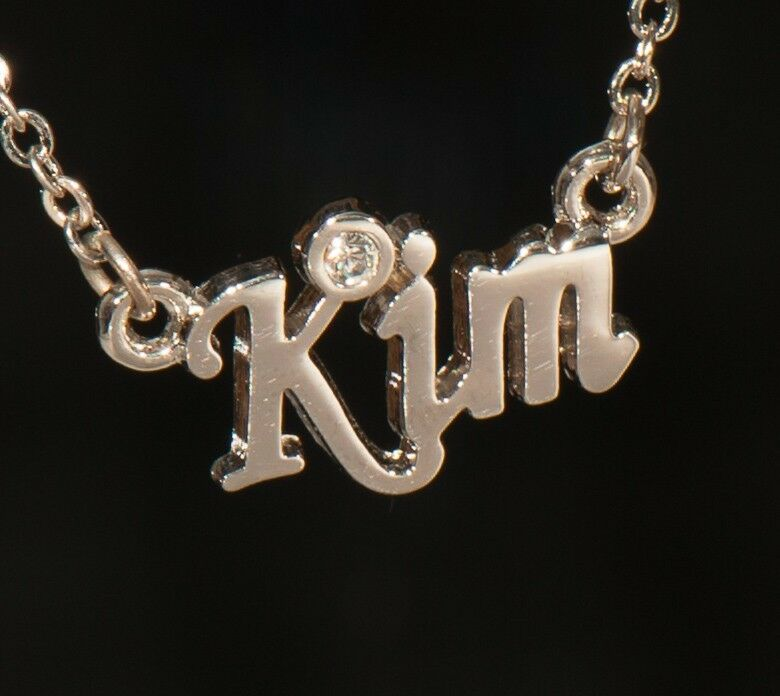 KIM Name Necklace with Rhinestone Gold or Silver Tone