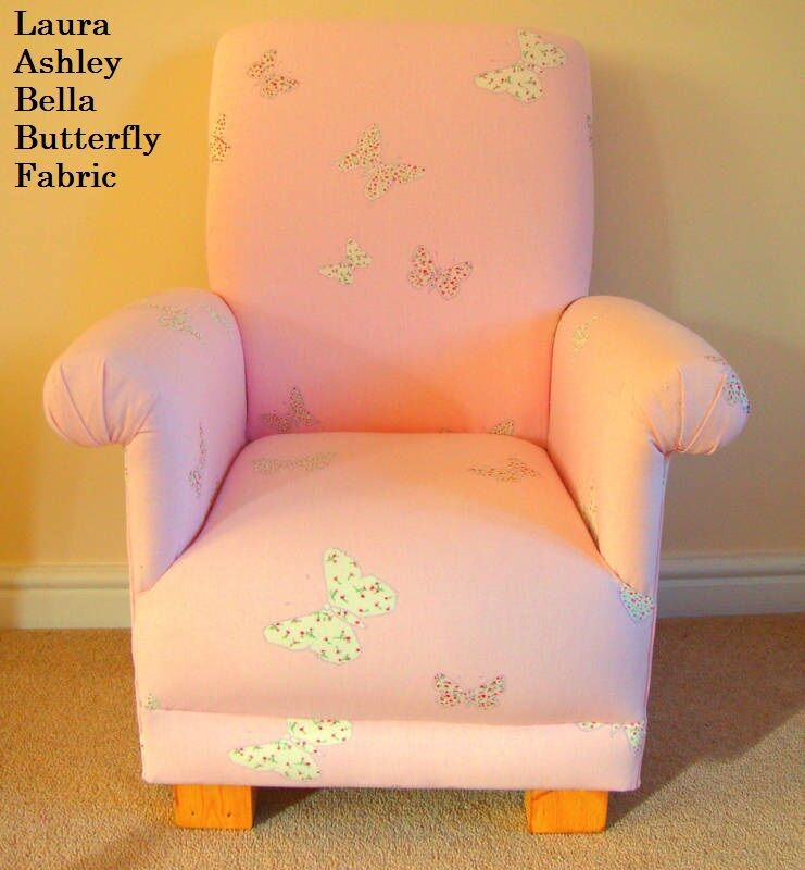 Laura ashley bella butterfly pink fabric children 39 s chair for Children s upholstery fabric
