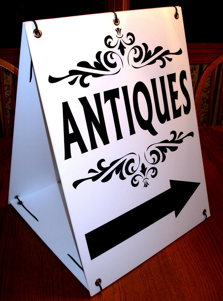 antiques with arrow sandwich board sign 2 sided kit new black on white ebay
