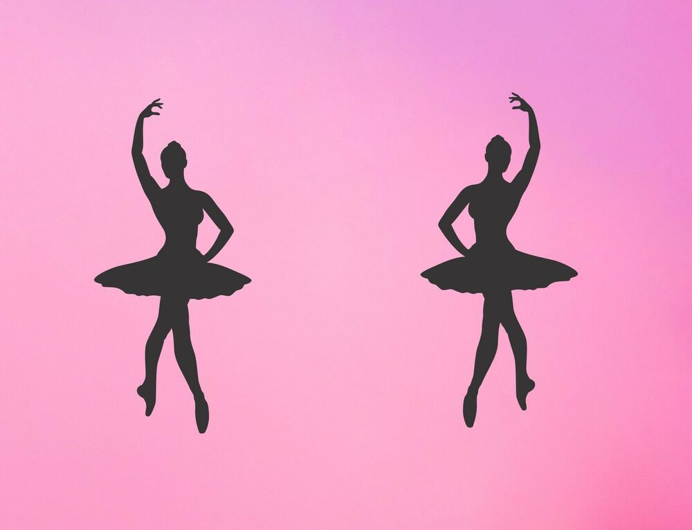 Ballerina wall decal set removable stickers girl bedroom for Ballerina wall mural
