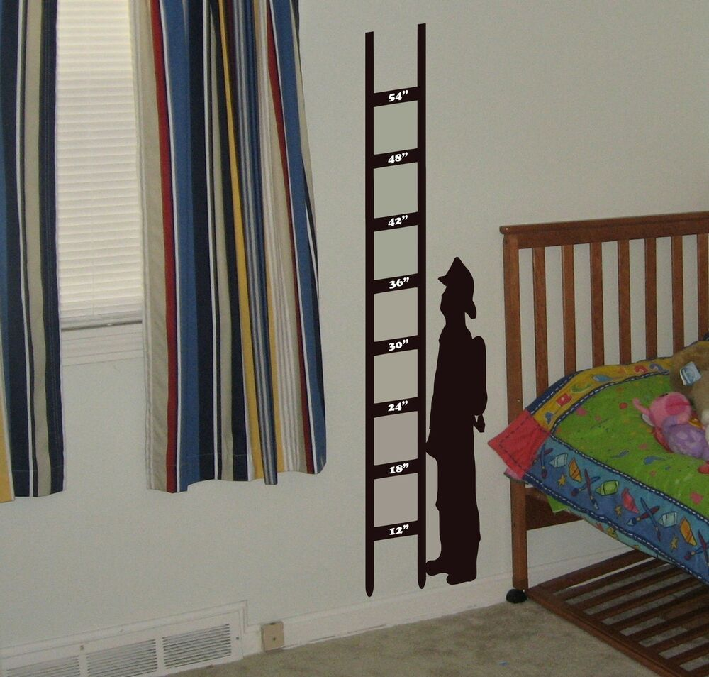 Fireman growth chart wall decal removable wall sticker for Growth chart for kids room