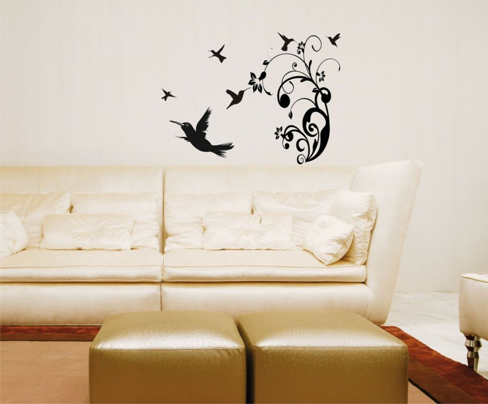 Hummingbirds wall decals removable sticker scene birds for Nature decor