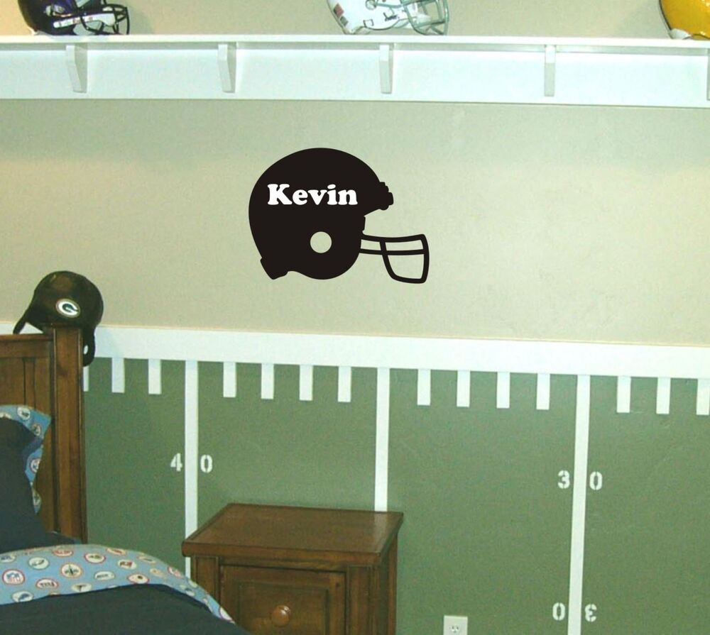 Personalized football helmet wall decal removable sticker for Personalized kids room decor
