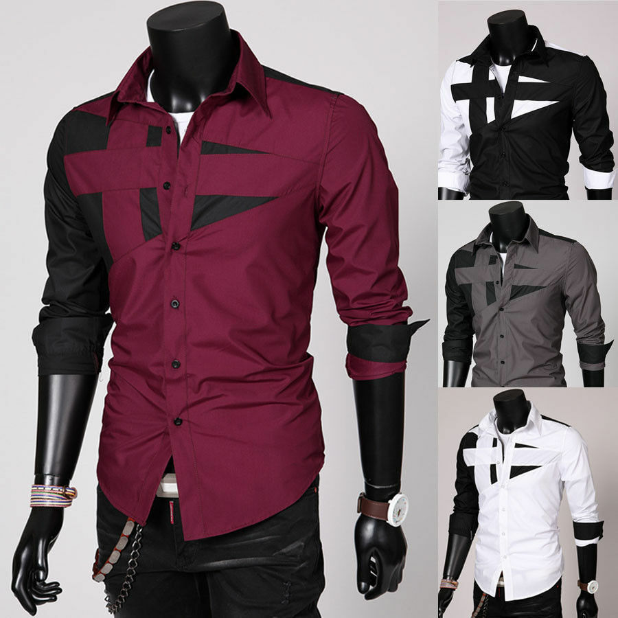 Cheap mens fashion sexy luxury casual slim fit long sleeve for Cheap slim fit shirts