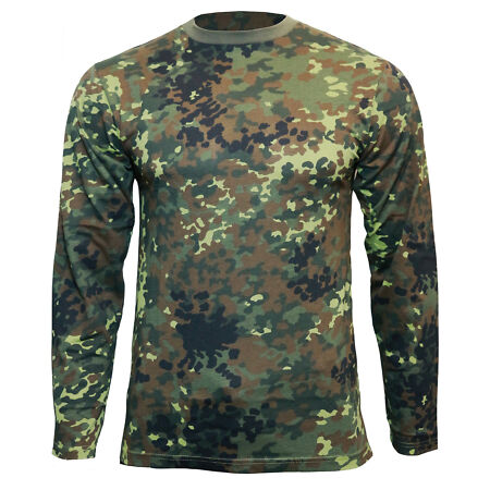 img-Flecktarn Camo Long Sleeved T-Shirt - 100% Cotton Army Military Top New