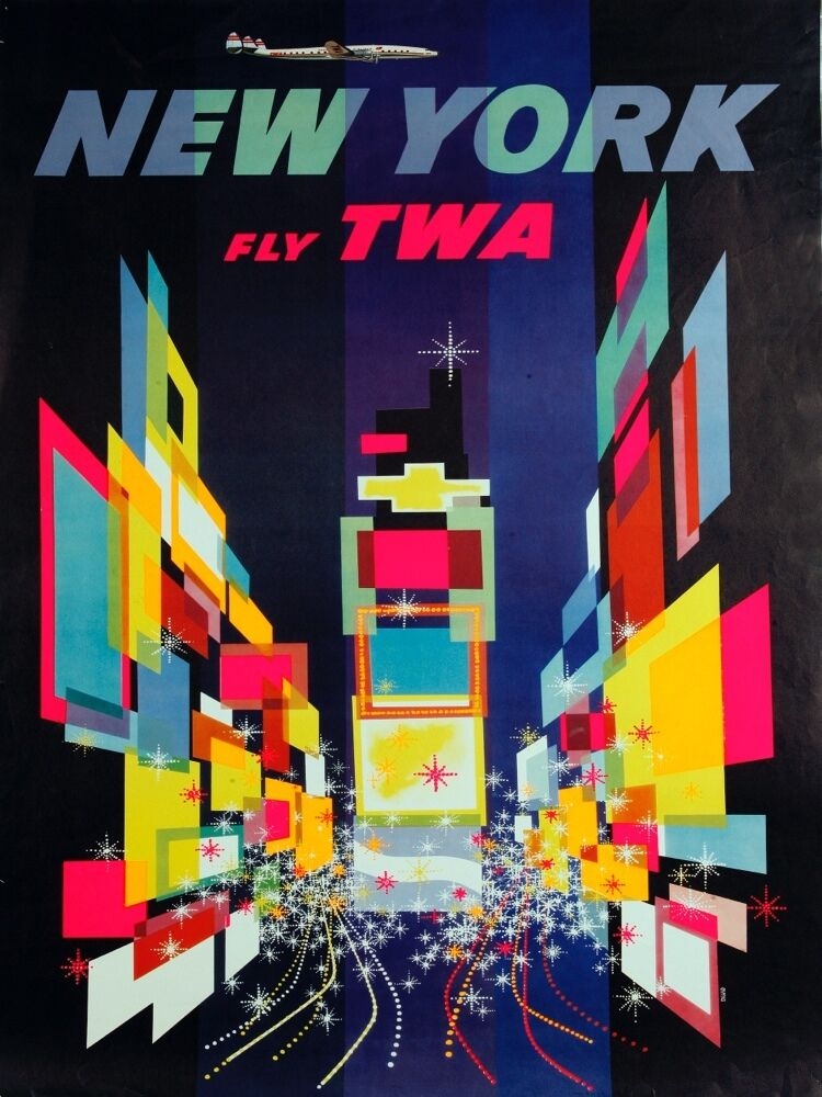 4169.New York.Fly TWA.City Scenery.Times Square.POSTER