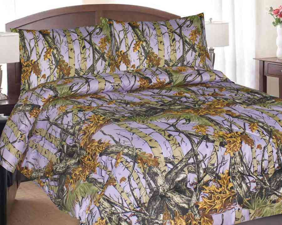NEW LAVENDER CAMO COMFORTER QUEEN SIZE CAMOUFLAGE BEDDING