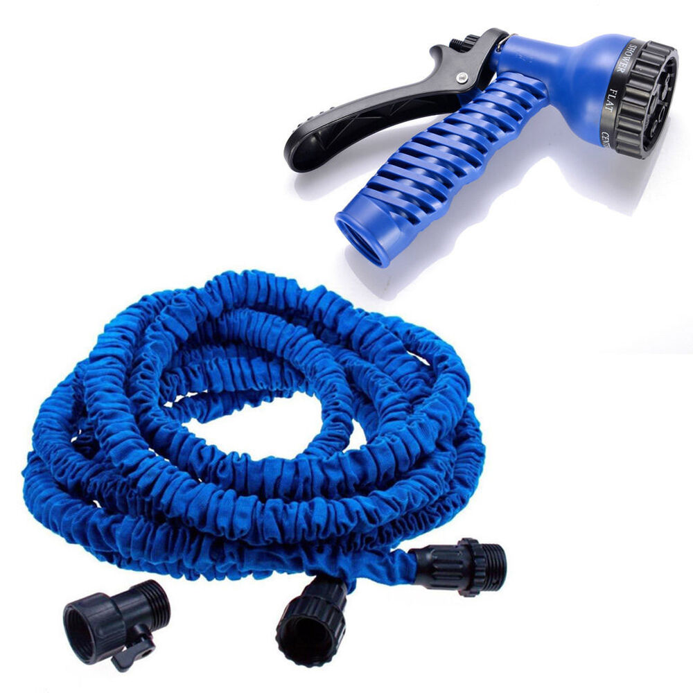 25ft Blue Lightweight Expandable Garden Hose 7 Function