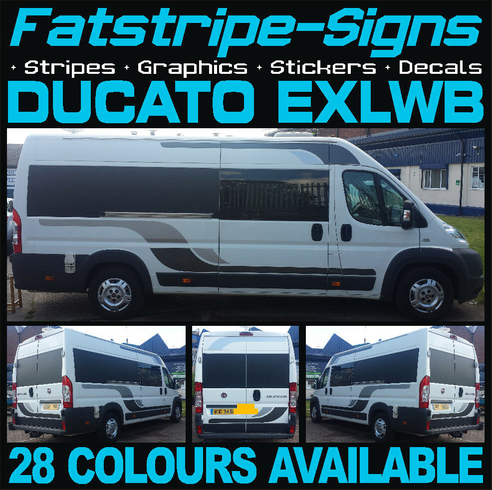Fiat ducato exlwb motorhome vinyl graphics stickers decals for Decals for rv mural