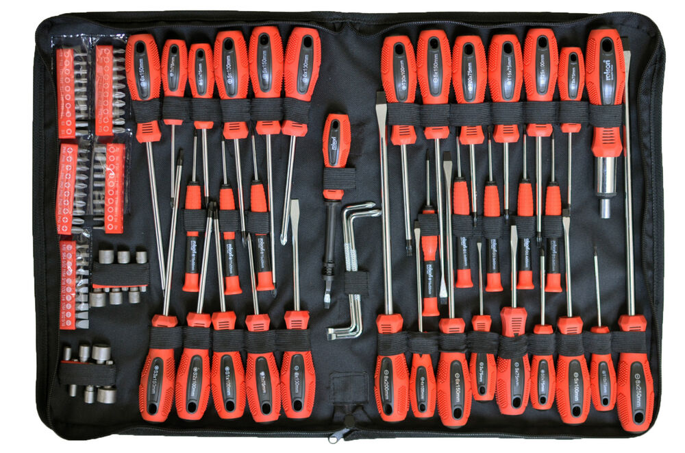 rolson tools 100 pc piece screwdriver bit set kit torx precision ratchet pouch ebay. Black Bedroom Furniture Sets. Home Design Ideas