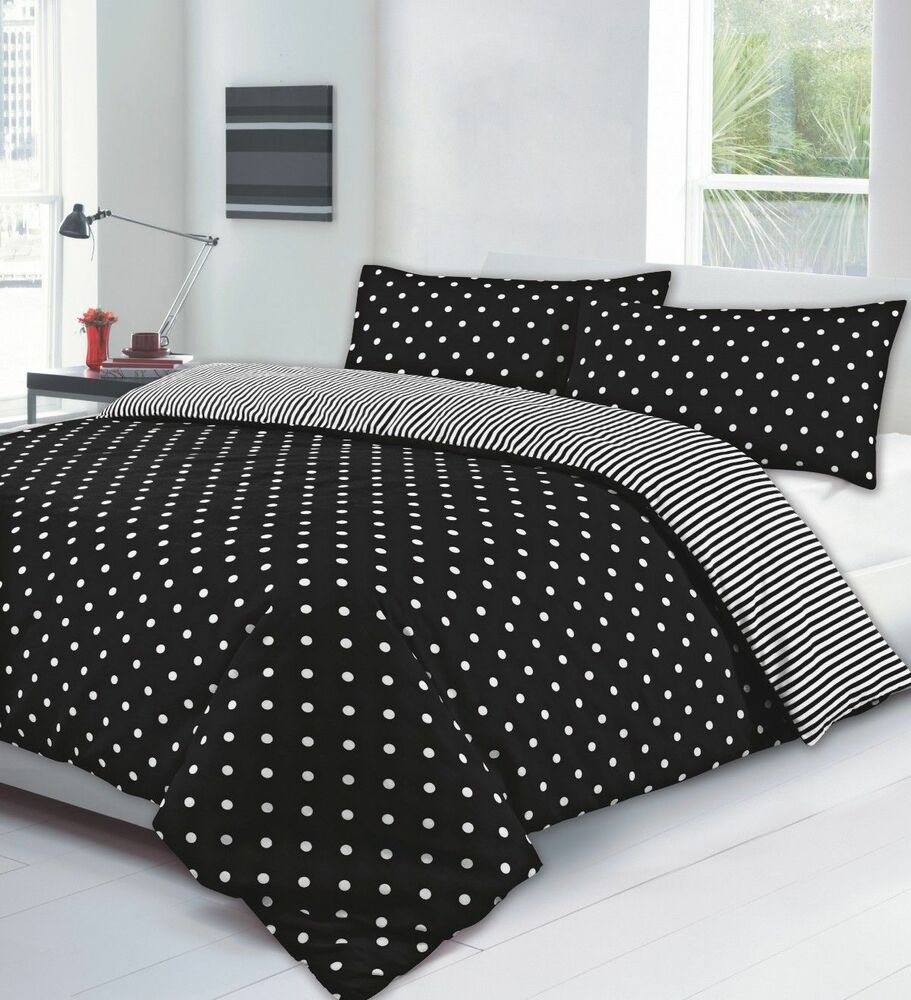 Single size polka stripe reversible black white duvet - Housse de couette blanc et noir ...