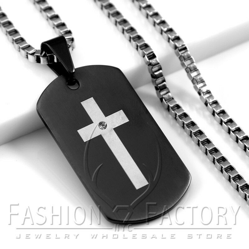 Men stainless steel black dog tag cross engraved pendant for Black and blue jewelry cross necklace