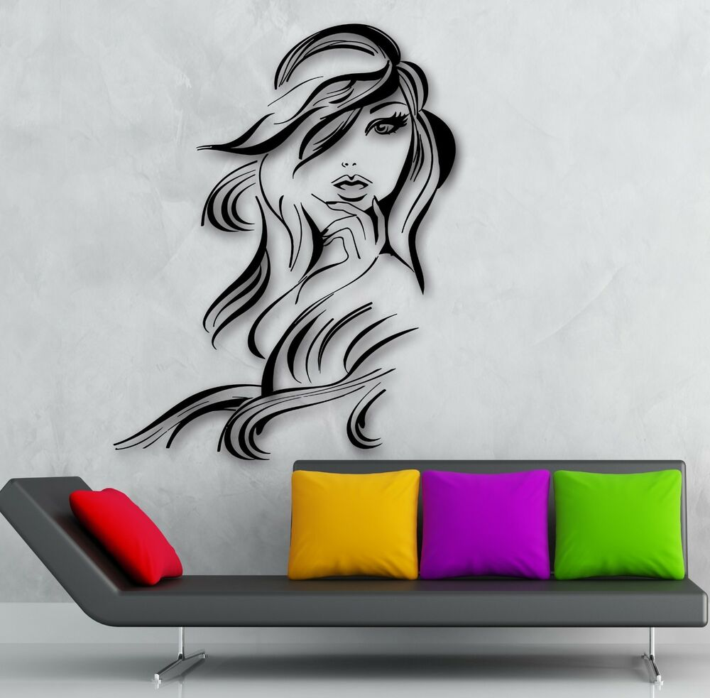 wall sticker vinyl decal hot sexy girl hair beauty salon hairdresser ig1872 ebay. Black Bedroom Furniture Sets. Home Design Ideas