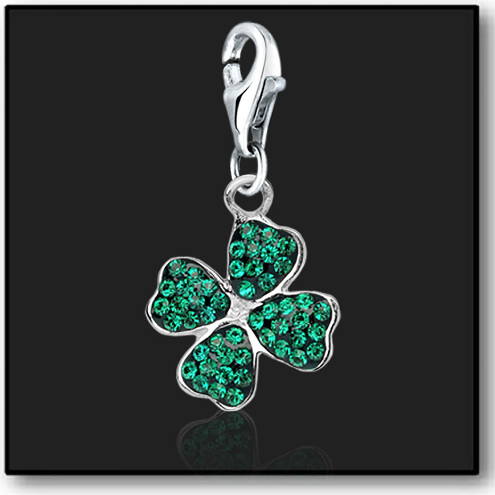 925 sterling silver clip on bracelet charm 4 leaf clover swarovski crystal 3d ebay. Black Bedroom Furniture Sets. Home Design Ideas