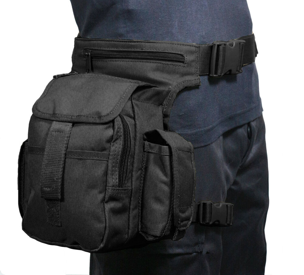 Black Canvas Tactical Waist Multi Pack With Leg Strap Airsoft