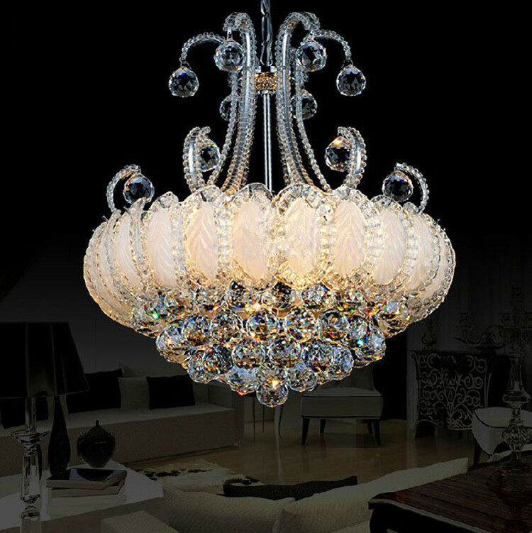 40cm modern clear crystal chandelier lamps living light bedroom