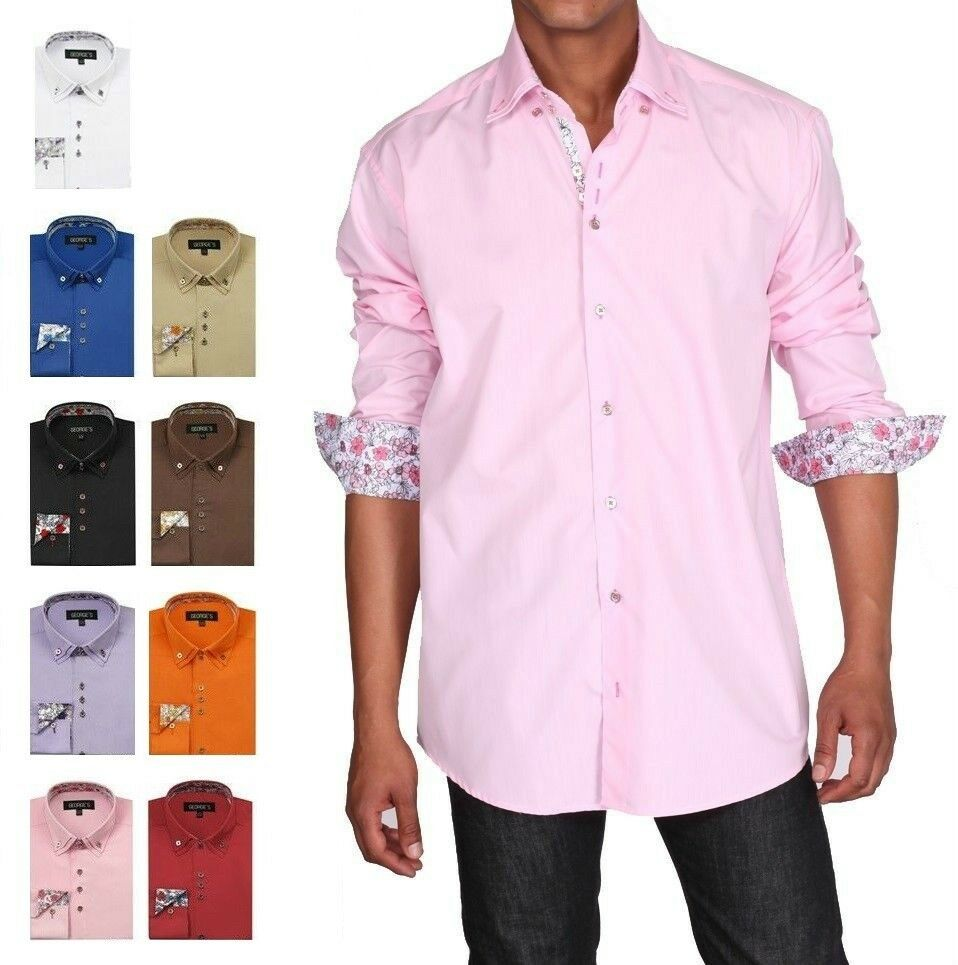 Men 39 s button down double collar dress shirt 610 cotton for Solid color button up shirts