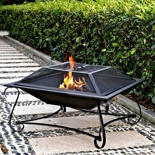 Fire pit wood fireplace square steel deck backyard heater for Square fire ring
