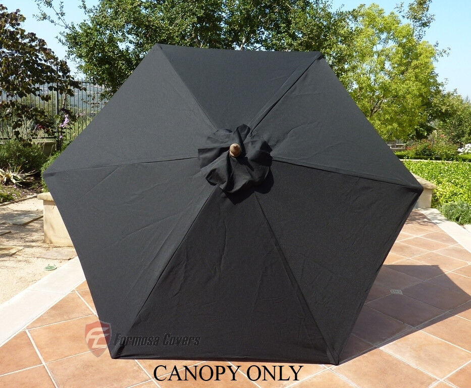 9ft Umbrella Replacement Canopy 6 Ribs In Black Canopy