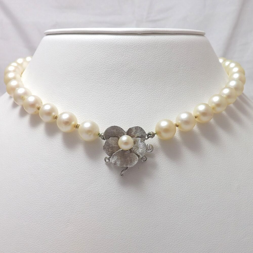 Pearl Necklace Clasp: 14K WHITE GOLD PANSY FLOWER CLASP 7.5-8mm CULTURED PEARL