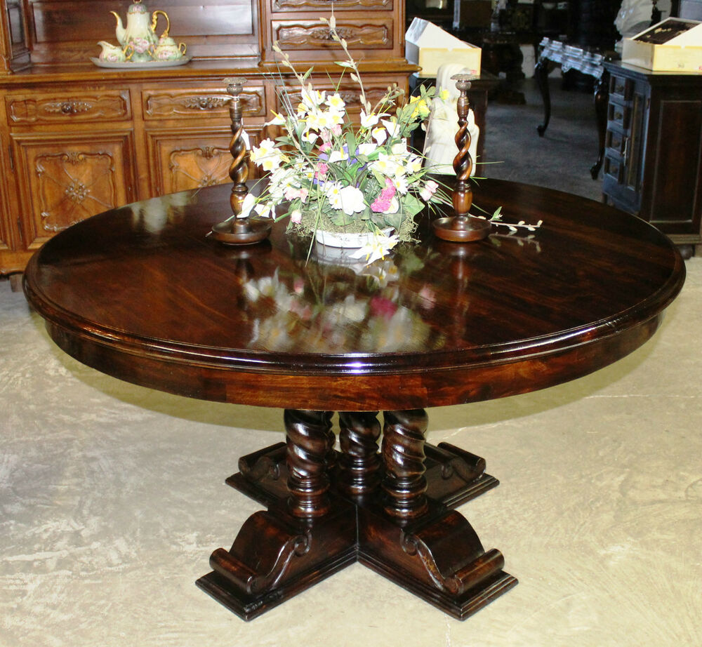 "Vintage Dining Room Tables: Antique Style Country French 60"" Round Hardwood Barley"