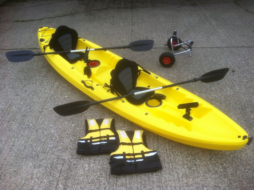 New sit on top double tandem river sea fishing kayak canoe for Best tandem fishing kayak