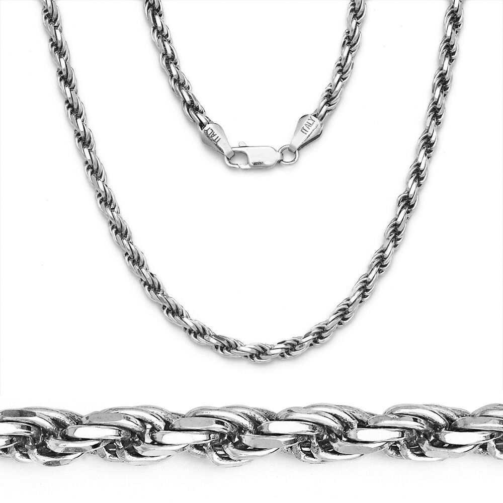 Mens Solid Rope Chain Necklace 925 Sterling Silver Italy ...