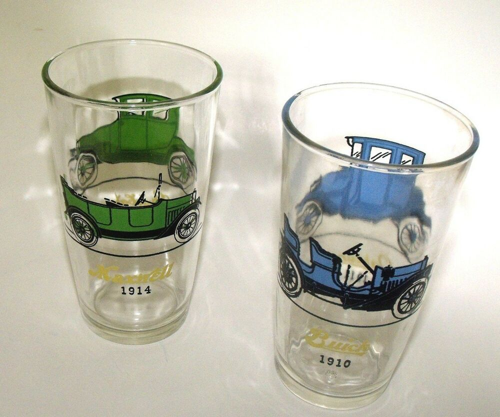 435a580ba808 TWO LOT - VINTAGE ANTIQUE AUTO DRINKING GLASSES - LOOK!!