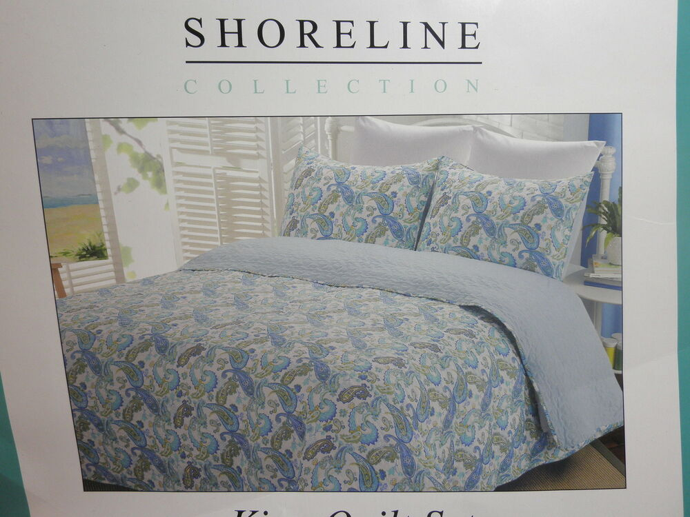 Collection king quilt and shams set aqua lime yellow paisley ebay