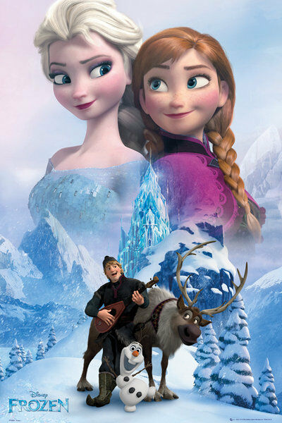 Frozen disney movie poster print characters collage - Reine des neige olaf ...