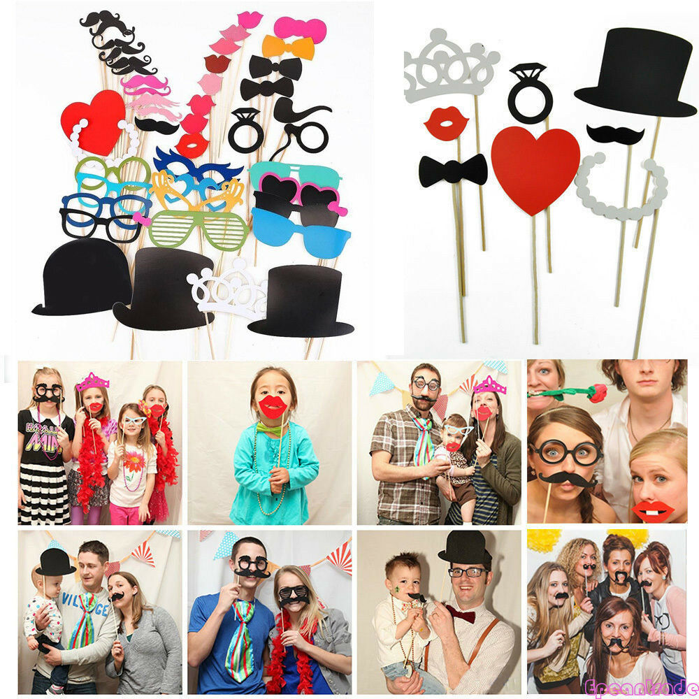 photo booth props glasses crown hat mustache on a stick wedding party mask decor ebay. Black Bedroom Furniture Sets. Home Design Ideas