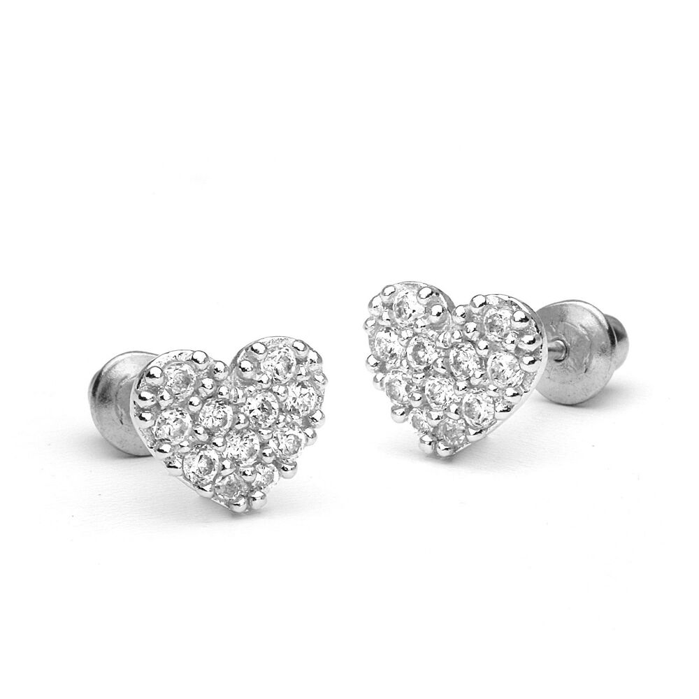 925 Sterling Silver Pave Heart Children Screwback Baby ...