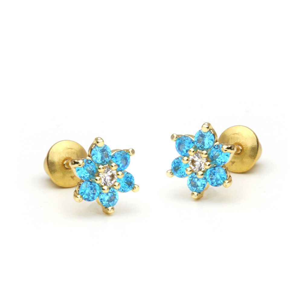 14k Gold Plated December Flower Children Screw Back Baby ...