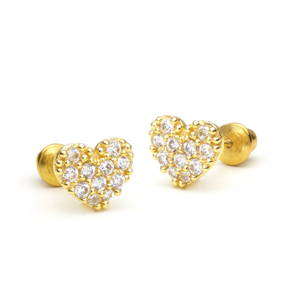 14k Gold Plated Pave Heart Children Screwback Baby Girls Earrings ...