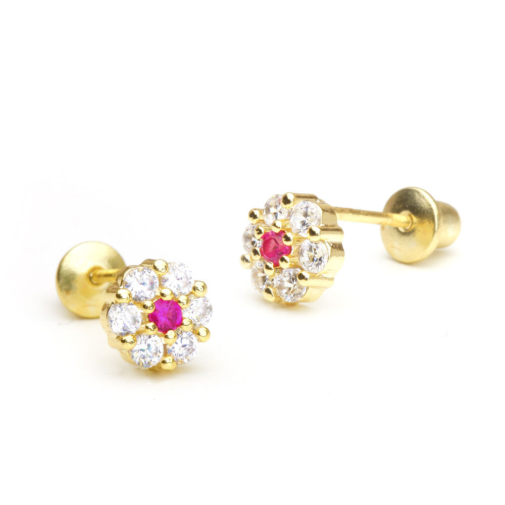 14k Gold Plated Red Center Cluster Flower Children ...