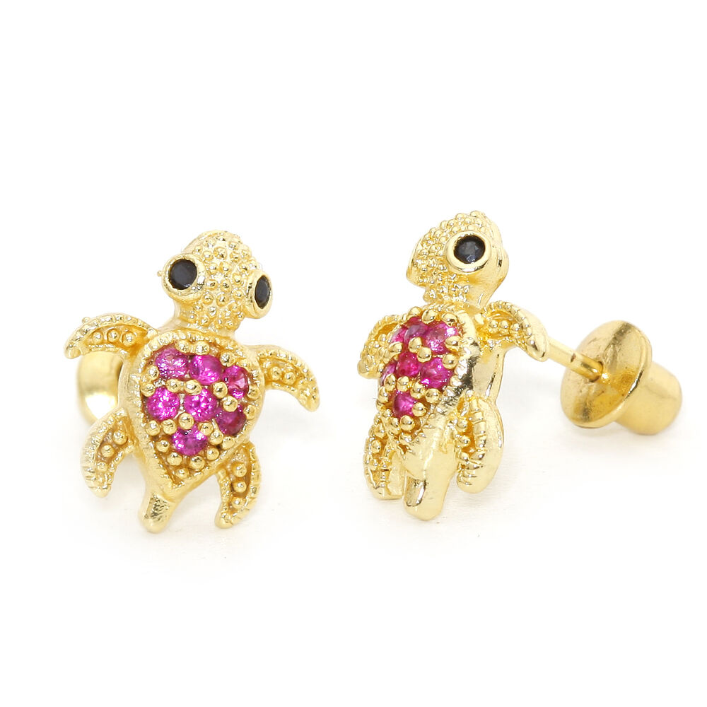 babies earrings with backs 14k gold plated turtle children back baby 3294