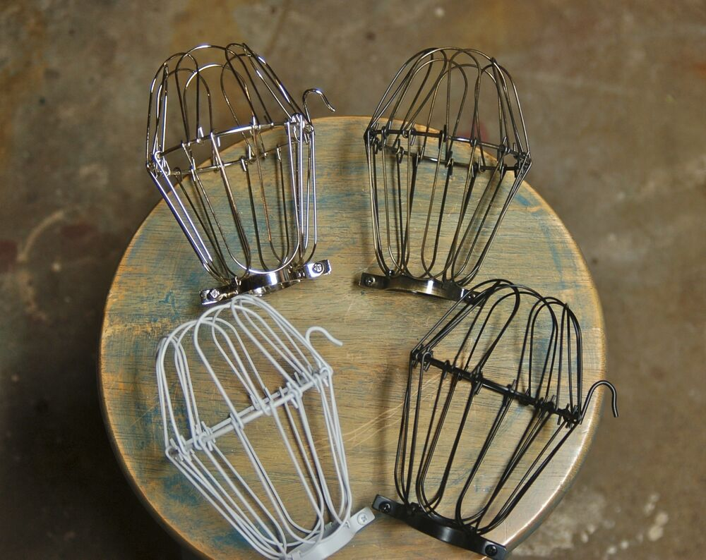 wire bulb cage clamp on lamp guard vintage industrial. Black Bedroom Furniture Sets. Home Design Ideas